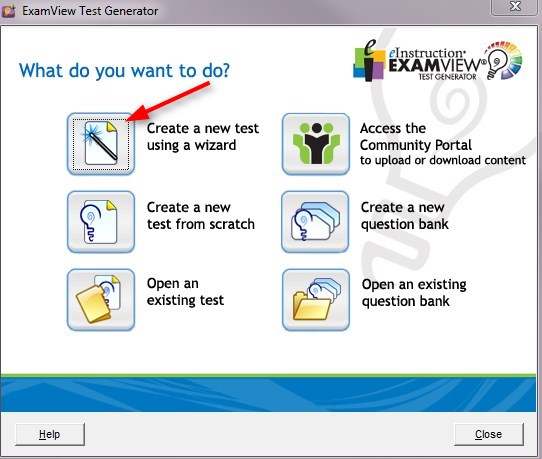 Click Create a new test using a wizard.