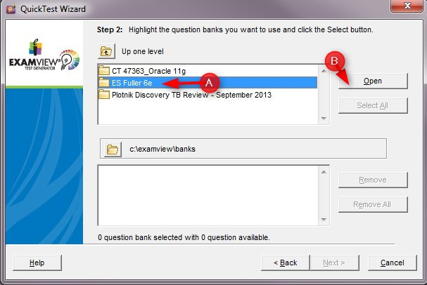 Select the test bank and click Open