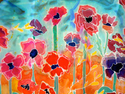"""Where Poppies Grow,"" a hand-painted silk banner by Margot Eiseman of Tallmadge"