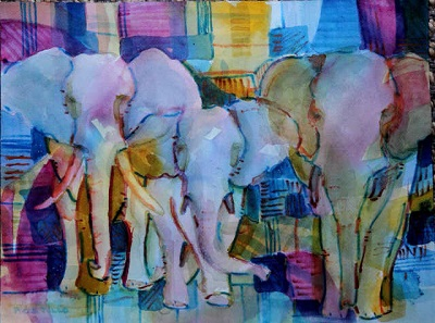 """Trunks"" by Peter Castillo, watercolor."