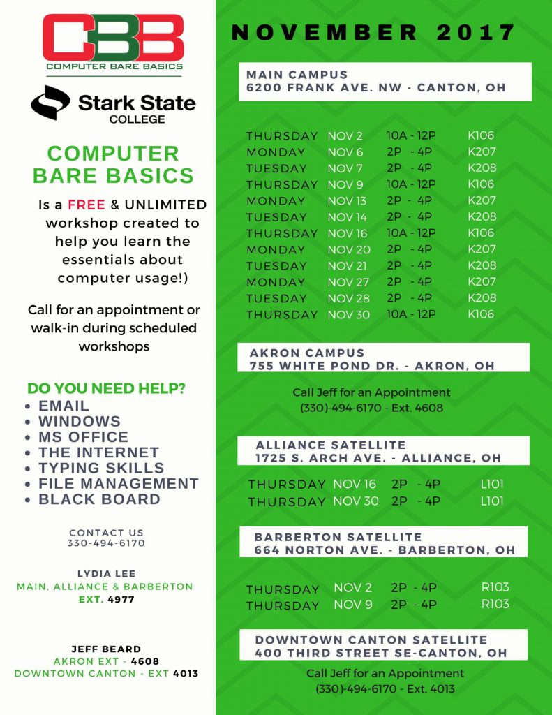 Computer Bare Basics @ Stark State College Barberton Satellite Center | Barberton | Ohio | United States
