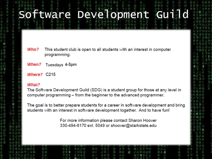 Software Development Guild meeting @ main campus