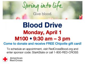 American Red Cross Blood Drive @ main campus (M100)