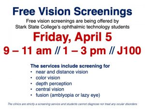 Free vision screenings @ Stark State College (J100)