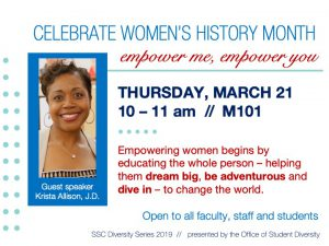 Women's History Month // guest speaker @ main campus (M101)