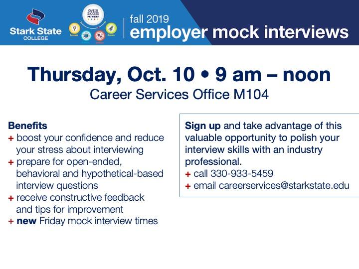 Employer mock interviews @ Main campus | M104