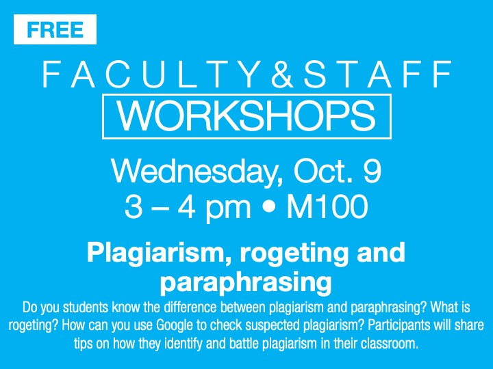 Faculty/staff workshop @ main campus | M100