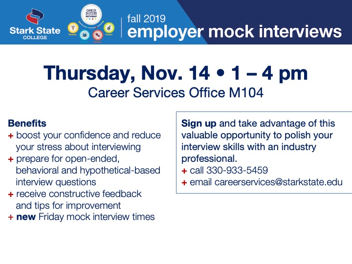 Employer mock interviews @ Main campus | M104