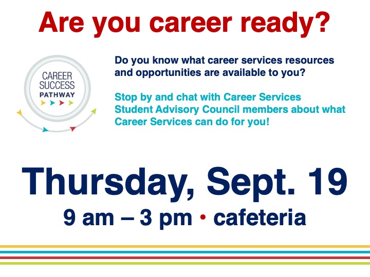 Career Services pop-up info table @ Main campus