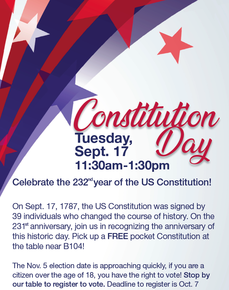 Celebrate Constitution Day! @ main campus | vending area near B104