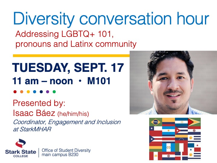 Diversity conversation hour | guest speaker Isaac Báez @ main campus |  M101