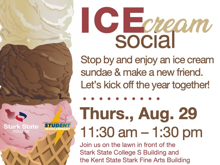 Ice cream social @ front lawn between SSC S building and Kent State Stark Fine Arts building