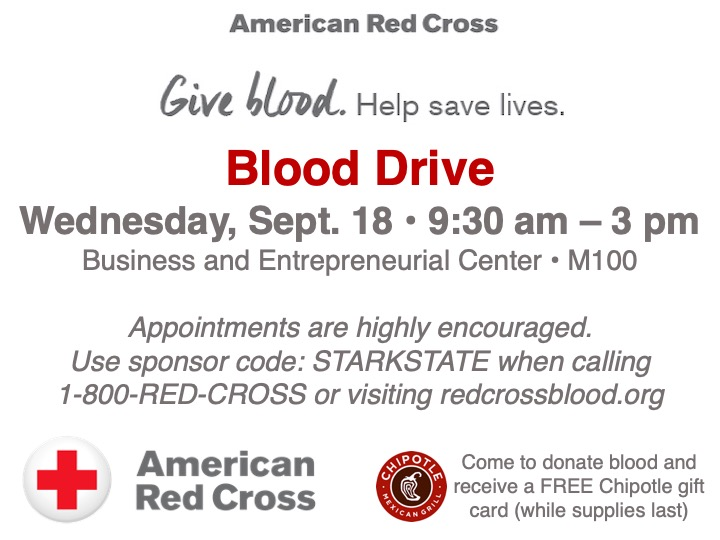 American Red Cross Blood Drive @ Business and Entrepreneurial Center (M100)