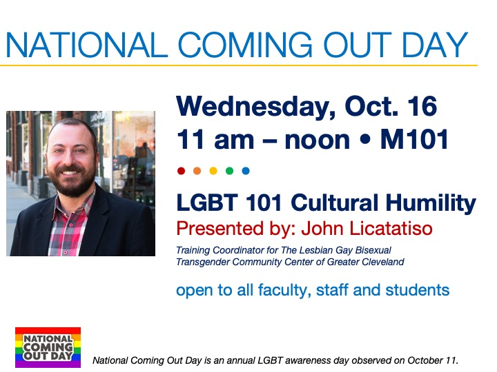 National Come Out Day guest speaker @ main campus | M101
