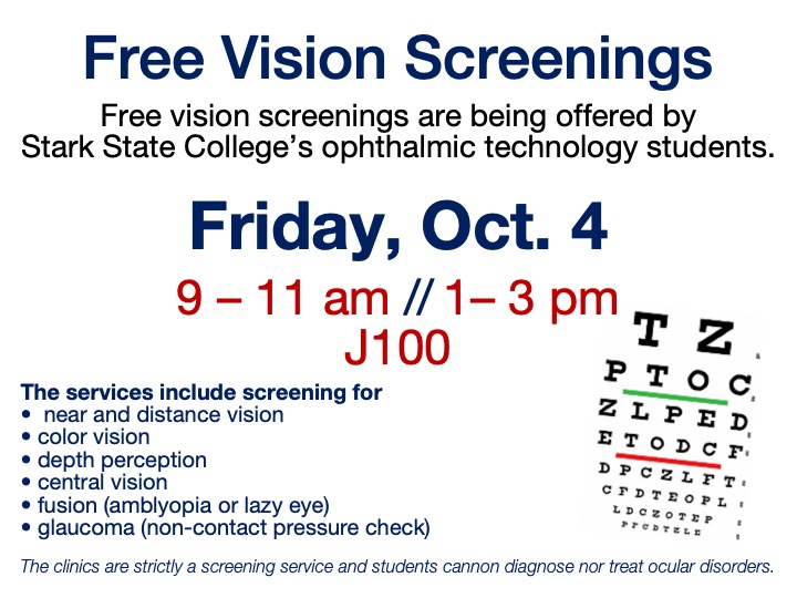 Free vision screenings @ Main campus | J100