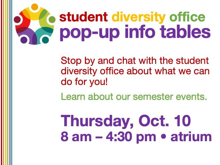 Student Diversity Office info table @ SSC Akron atrium