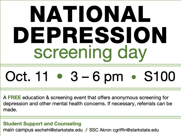 National Depression Screening Day @ Main campus | S100