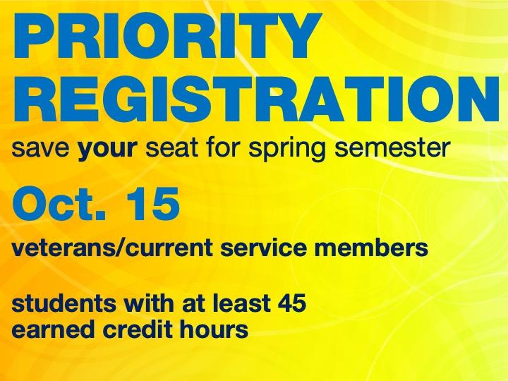 Priority registration for spring semester