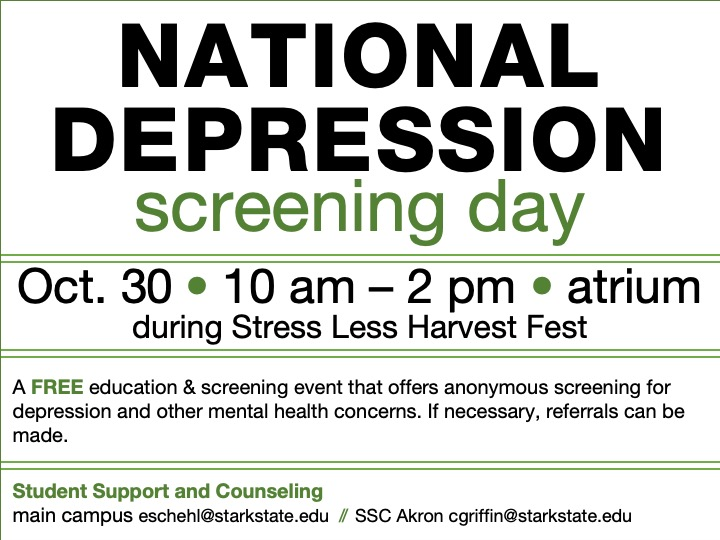SSC Akron | National Depression Screening Day @ SSC Akron atrium