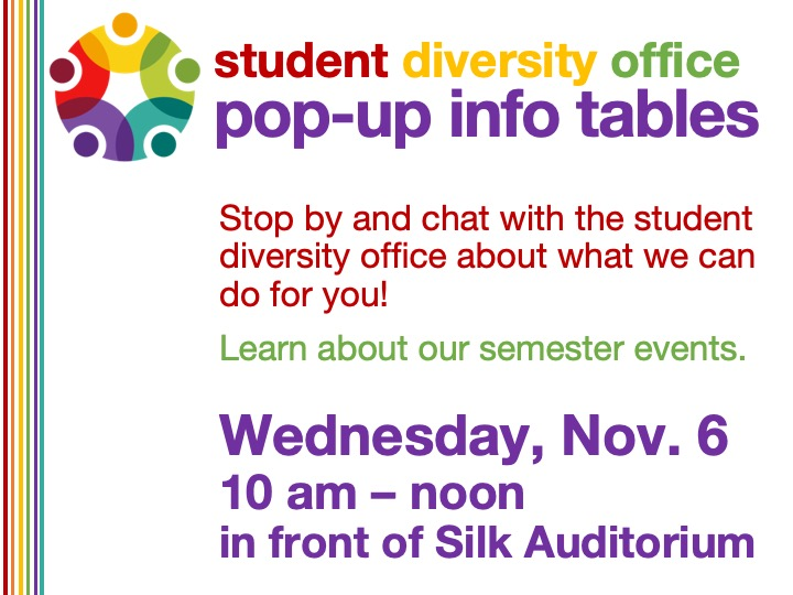 Student Diversity Office pop-up info table