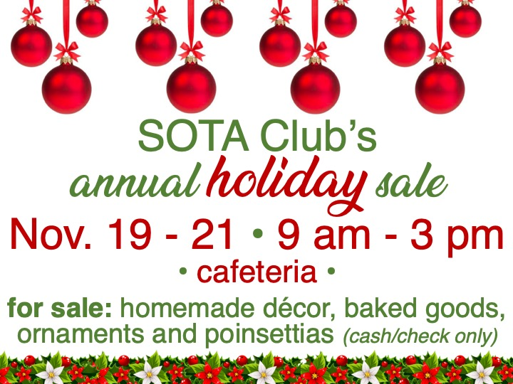 SOTA's Club holiday sale @ Main campus cafeteria