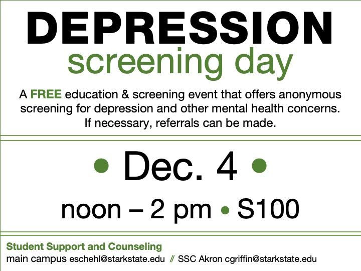Depression screenings and information @ main campus S100