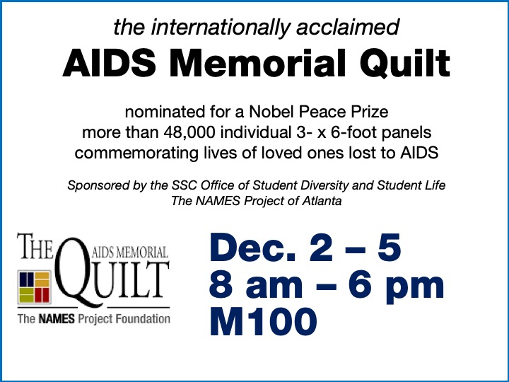 Memorial AIDS quilt on display @ main campus M100