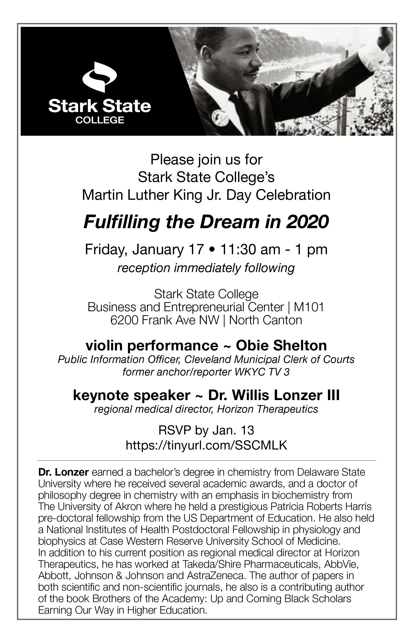 Martin Luther King Jr. Day celebration @ main campus • M101