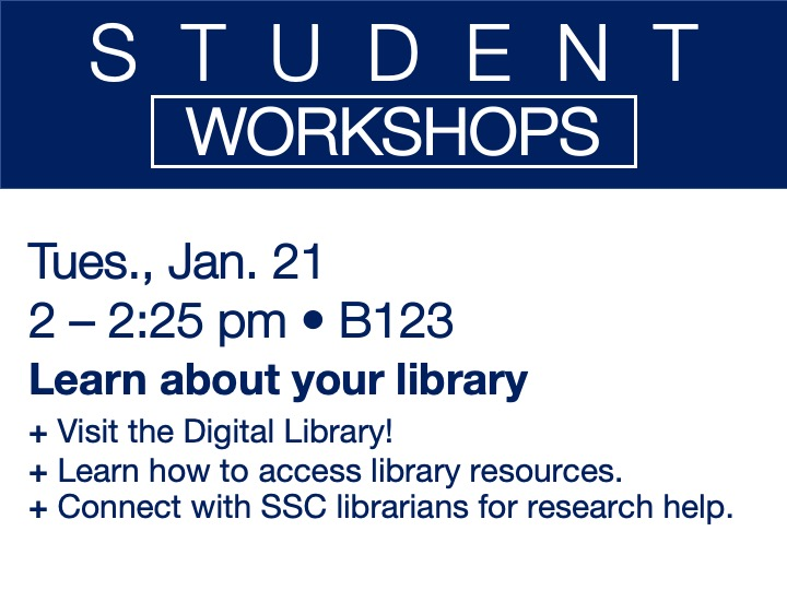student workshop - Learn about your library @ main campus | B123