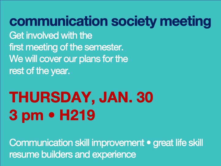 Communications society meeting @ main campus | H219