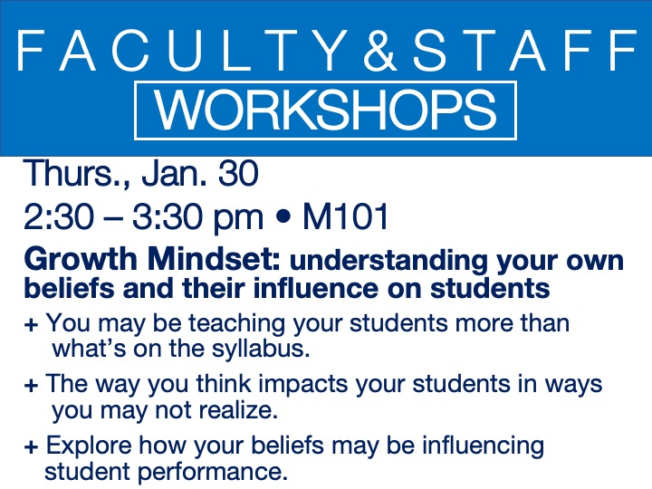 faculty/staff workshop - growth mindset @ main campus | M101