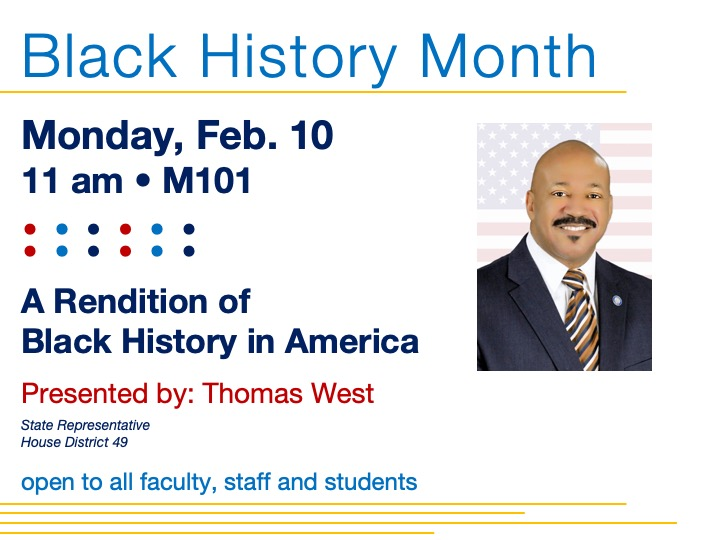 Black History Month guest speaker @ main campus • M101