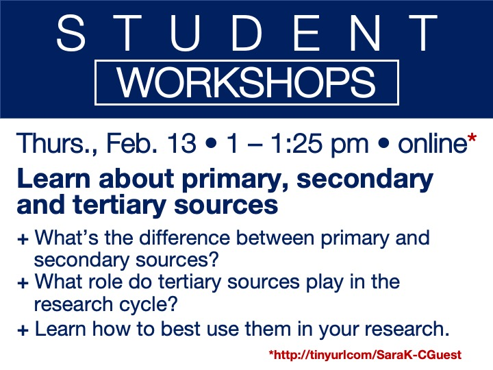online student workshop - Learn about primary, secondary and tertiary sources