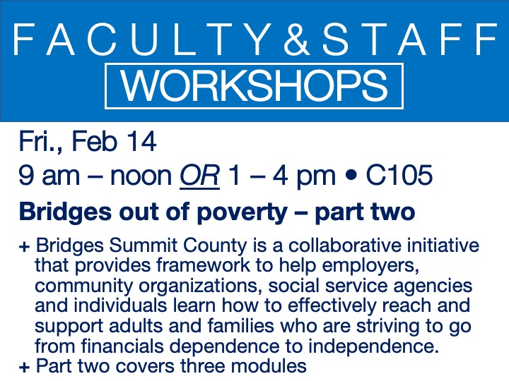 faculty/staff workshop - bridges out of poverty: part two @ main campus | M100