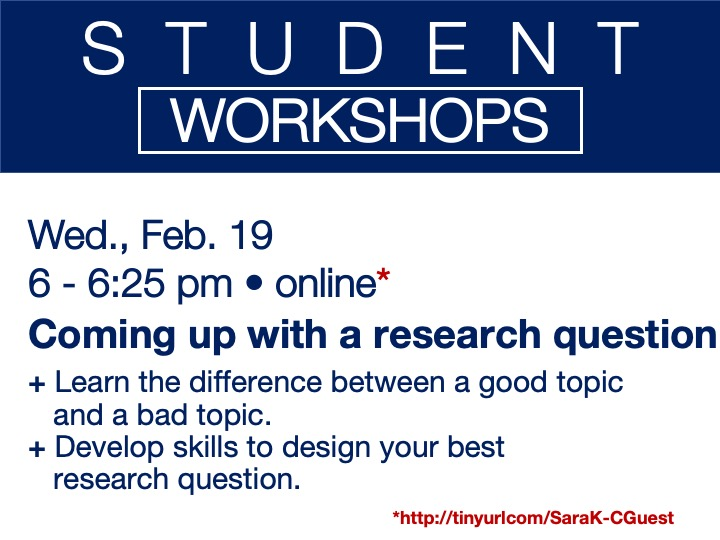 online student workshop - Coming up with a research question