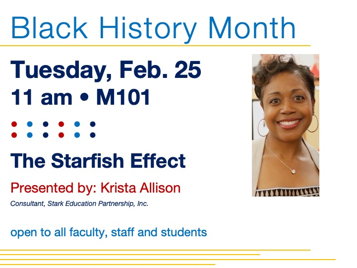 Black History Month guest speaker | Krista Allison @ main campus | M101
