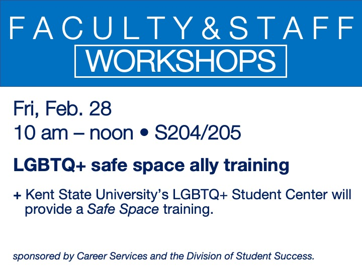 LGBTQ+ Safe Space ally training @ main campus | S204/205