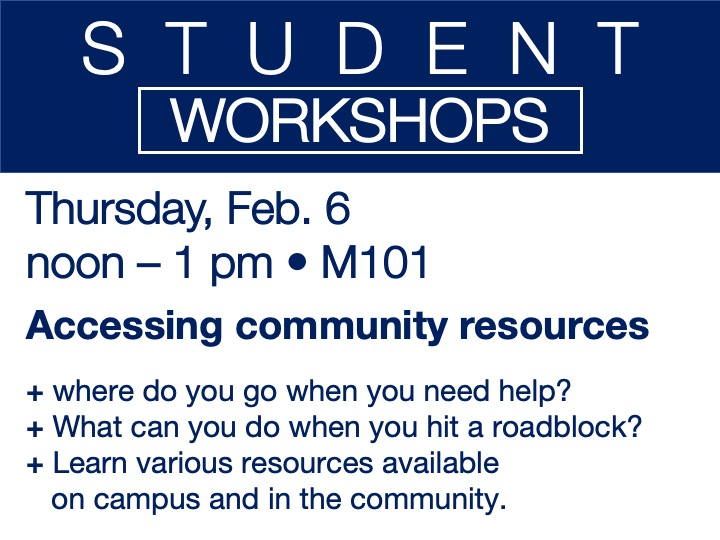 student workshop - accessing community resources @ main campus | M101