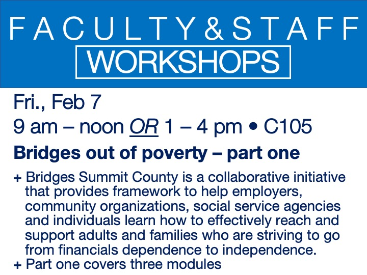 faculty/staff workshop - bridges out of poverty: part one @ main campus | C105