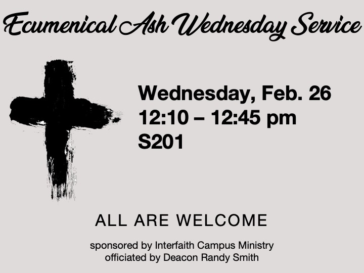 Ecumenical Ash Wednesday Service @ main campus | S201