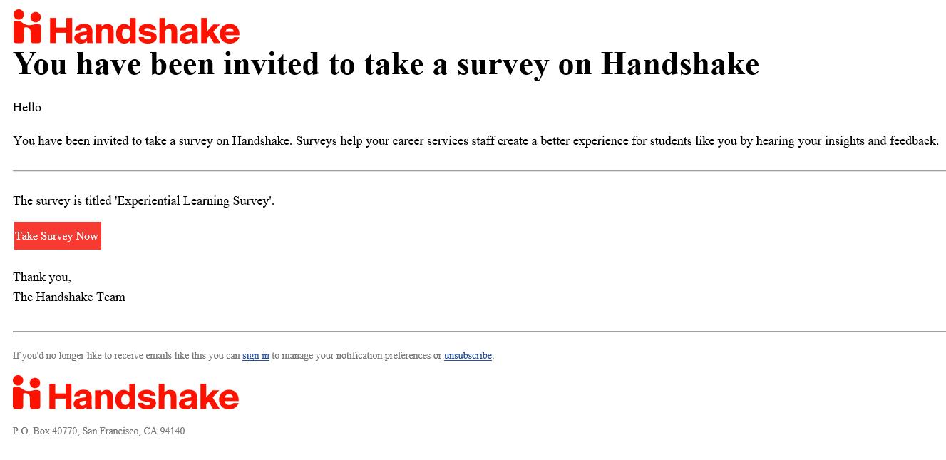 Handshake email example