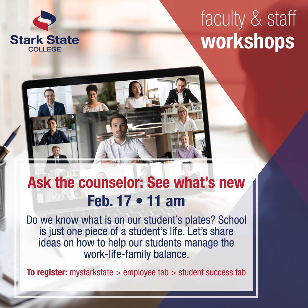 Virtual faculty/staff workshop | Ask the counselor: See what's new