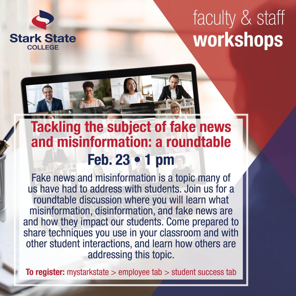 Virtual faculty/staff workshop | Tackling the subject of fake news and misinformation: A roundtable
