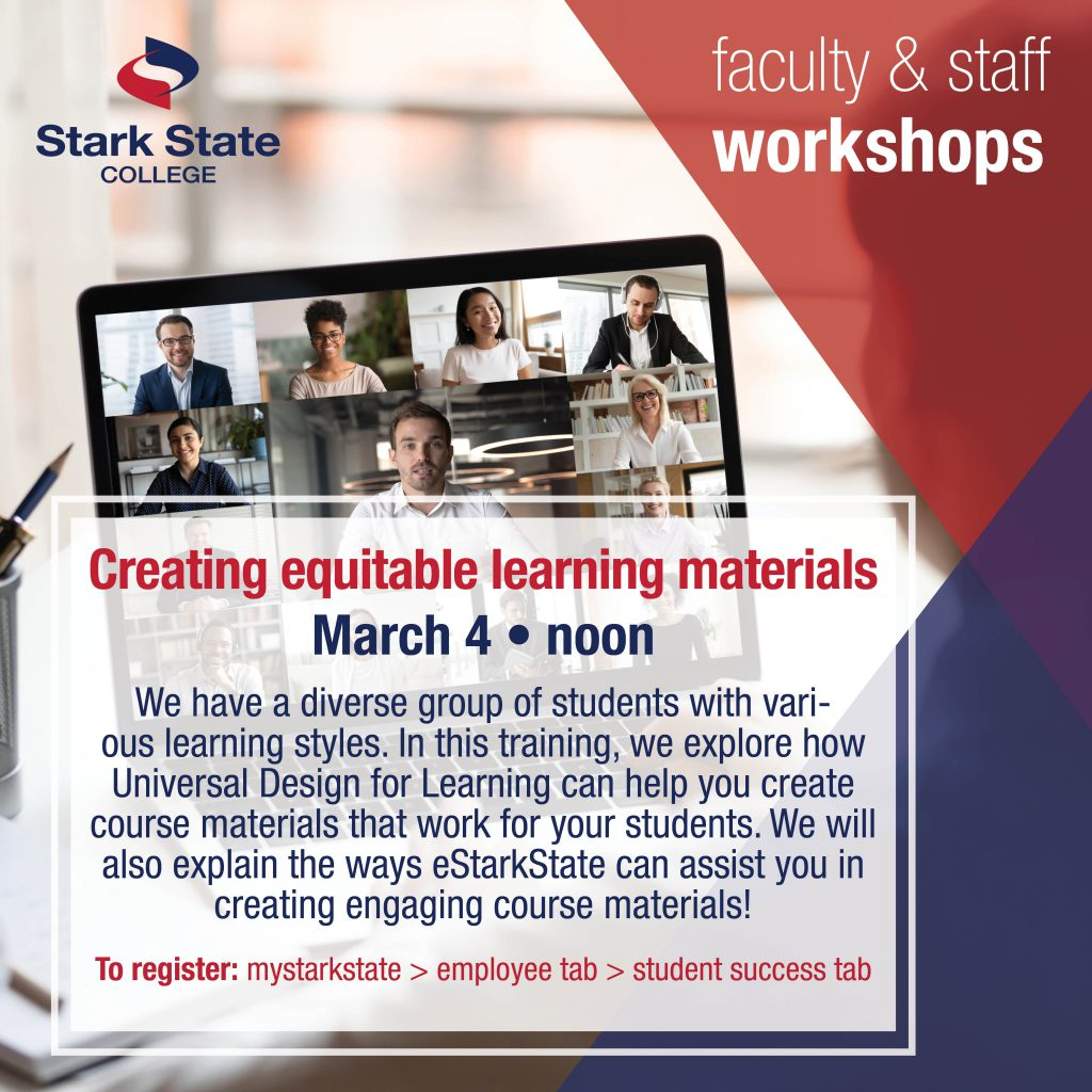 Virtual faculty/staff workshop | Creating equitable learning materials