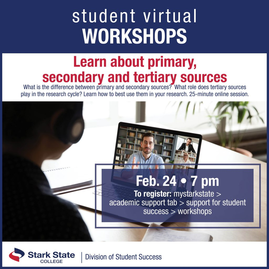 Virtual student workshops | Learn about primary, secondary, tertiary sources
