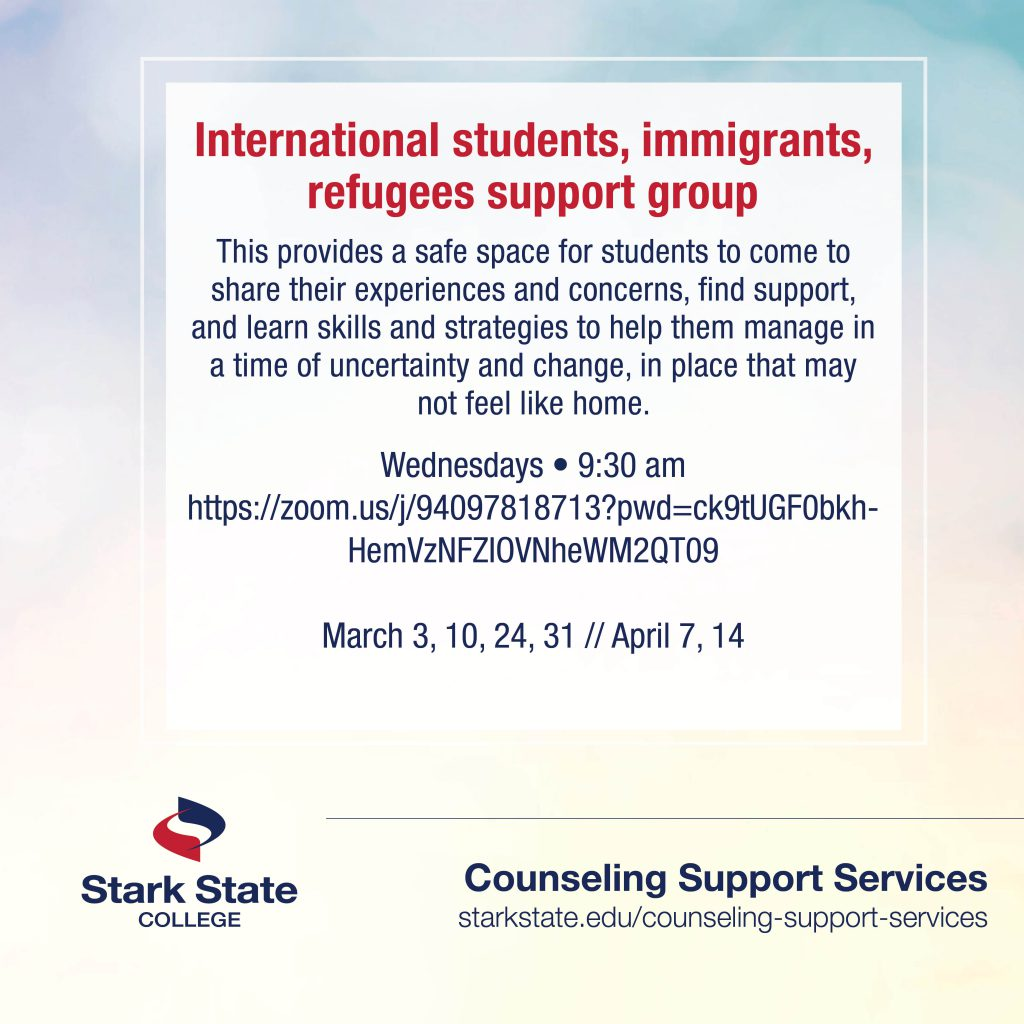 International students, immigrants and refugees support group - counseling services