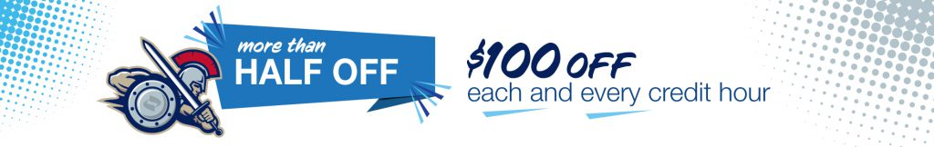 $100 off per credit hour (more than half off) for fall semester