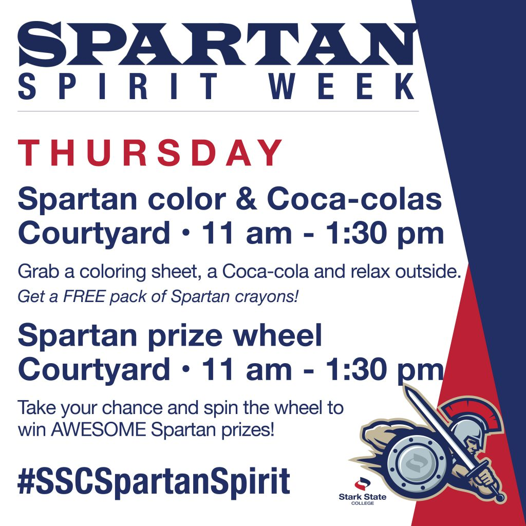 Spartan Spirit Week [Spartan coloring and prize wheel]